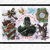 Dishonored gaming poster, Tattoo Style Flash Sheet, A4 or A3, Gamer