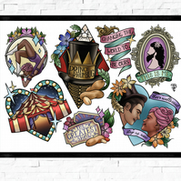 Greatest Showman film poster, Tattoo Style Flash Sheet, A4 or A3, drama, musical