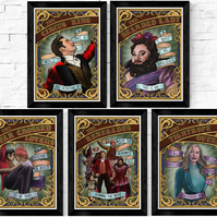 Greatest Showman Circus Posters, A5 and A4 prints, tattoo style, musical
