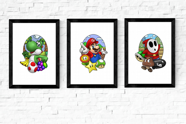 Classic Video Game Characters, A6 A5 and A4 prints, mario, zelda, crash