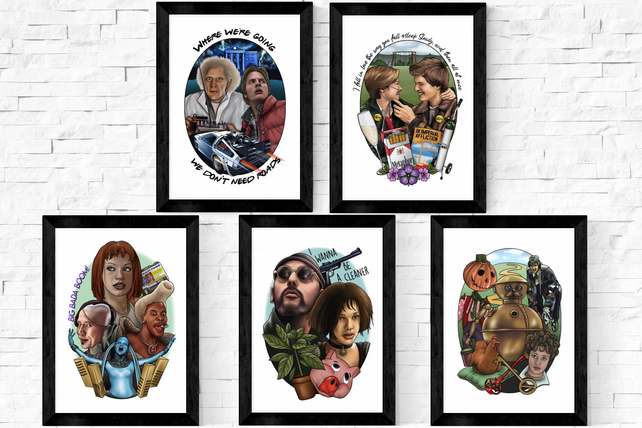 Cult Film Hand drawn Posters, A5 and A4 prints, tattoo style, classic movie