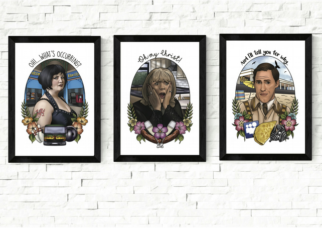 Gavin and Stacey Portrait Prints, A5 and A4 prints, bryn, pam, nessa
