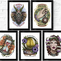 Poem and Quote Art Prints, A5 and A4, tattoo style, literature, classics, poetry
