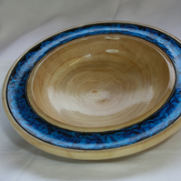 Unique Sycamore Wood Bowl with Blue and Black Irridescent Rim