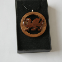 Wooden Dragon Pendant Necklace