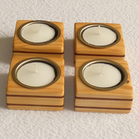 Unique Set of 4 Wooden Pine CandleHolders with Sapele Inlays