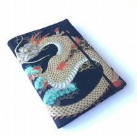 A5 sketchbook, notebook, journal, jotter with reusable dragon fabric cover