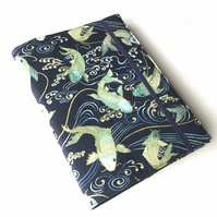 A5 sketchbook, notebook, journal, jotter with reusable koi carp fabric cover