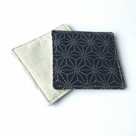 Japanese fabric coasters, drink mats, set of 2 - handmade in Cornwall