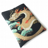 Japanese dragon fabric book sleeve, paperback protector, journal sleeve