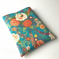 Japanese turquoise fabric book sleeve, paperback protector, journal sleeve