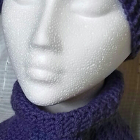 Beanie Hat and Neck Warmer Set Violet Adult Size