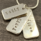 Sterling Silver Dog Tag Triple Pendant