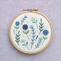Shades of Blue Hand Embroidered Wall Art