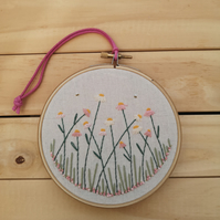 Daisies Hand Embroidered Wall Art