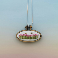 Hand Embroidered Pink Field of Flowers and Bumble Bees Necklace