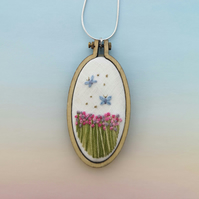 Hand Embroidered Field of Flowers and Butterfly Necklace