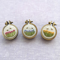 Tiny Hand Embroidered Field of Flowers Brooch