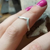 Wishbone stacking wedding ring with satin finish
