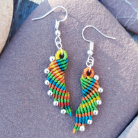 Macrame Rainbow Angel Wing Earrings