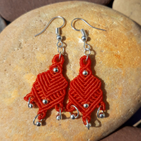 Orange Macrame Earrings