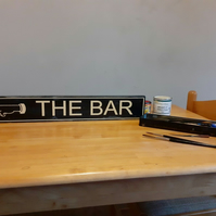 """TO THE BAR"" HAND SIGN WRITTEN, PUB, BEER GARDEN, SHED, MAN CAVE."