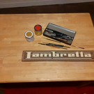 "VINTAGE STYLE ""LAMBRETTA"" MOTORCYCLE SIGN, SIGN WRITTEN, SHED, MAN CAVE."