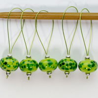 Lampwork Stitch Markers - Green Machine