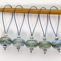 Lampwork Stitch Markers - Blue Sediment
