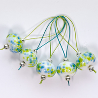 Lampwork Stitch Markers - Spring Greens and Blues