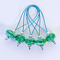 Lampwork Stitch Markers - Tropical Surf