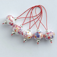 Lampwork Stitch Markers - Tropical Punch