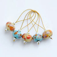Lampwork Stitch Markers - Copper Blues