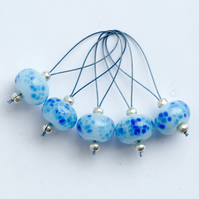 Lampwork Stitch Markers - Icy Blues