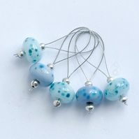 Lampwork Stitch Markers - Cool Blue Mix