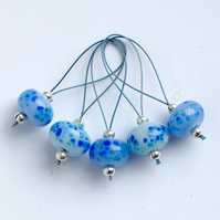 Lampwork Stitch Markers - Icy Blue Mix