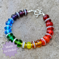 Transparent Rainbow Handmade Lampwork Glass Bracelet - Made to Order
