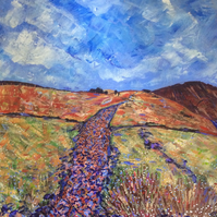 Moorland Path and Bog-Cotton  - Original Acrylic Painting