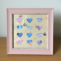 Handmade with Love Framed Original Heart Art  002