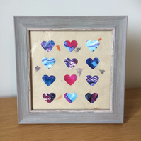 Handmade with Love Framed Original Heart Art  001