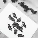 A5 Linoprint - Red Squirrel and Acorns - illustration - wildlife