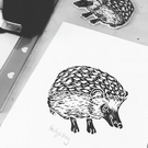 A5 Linoprint - Hedgehog - Illustration - Wildlife