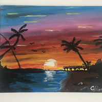 Tropical Sunset Landscape Acrylic Painting
