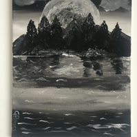 Moonrise over Mountains Fantasy Acrylic Painting