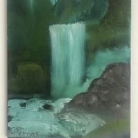 A Forest Waterfall Original Landscape Oil Painting