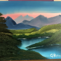 Mountain Lake Original Landscape Oil Painting