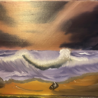 An Evening on the Beach Landscape Oil Painting