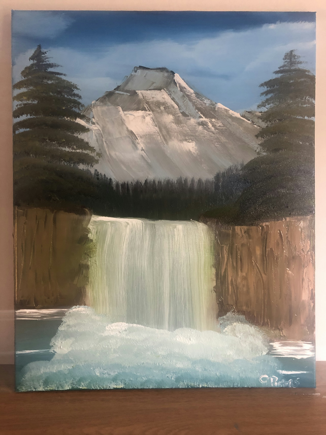 Mountain Falls Original Landscape Oil Painting