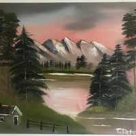 Dawn Lake Landscape Oil Painting