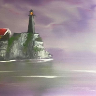 The Old Lighthouse  Original Landscape Oil Painting